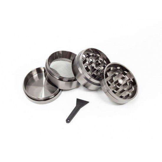 Grinder Crusher Crunsher Herb mill Aluminum zinc grey, 4 parts - CANVORY