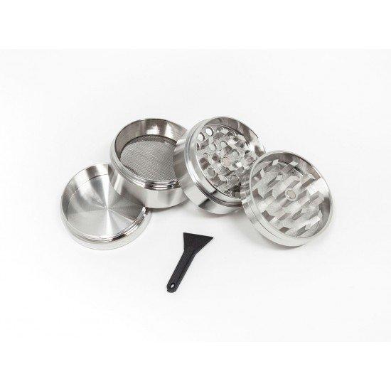 Grinder Crusher Crunsher Herb mill Aluminum zinc silver, 4 parts - CANVORY