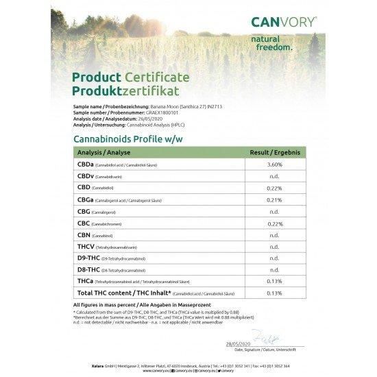 Banana Moon - 4 CBD Cannabidiol Cannabis Buds, 4 gram - CANVORY