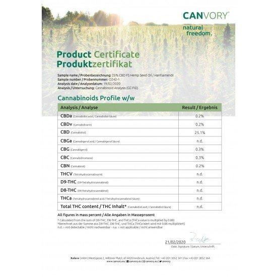 Espectro completo CBD Canabidiol Óleo de cânhamo 25, 2500mg - 10ml - CANVORY