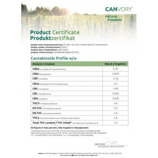 Spectre complet CBG + CBD Cannabigerol + Cannabidiol Huile de chanvre 5, 500mg - 10ml - CANVORY